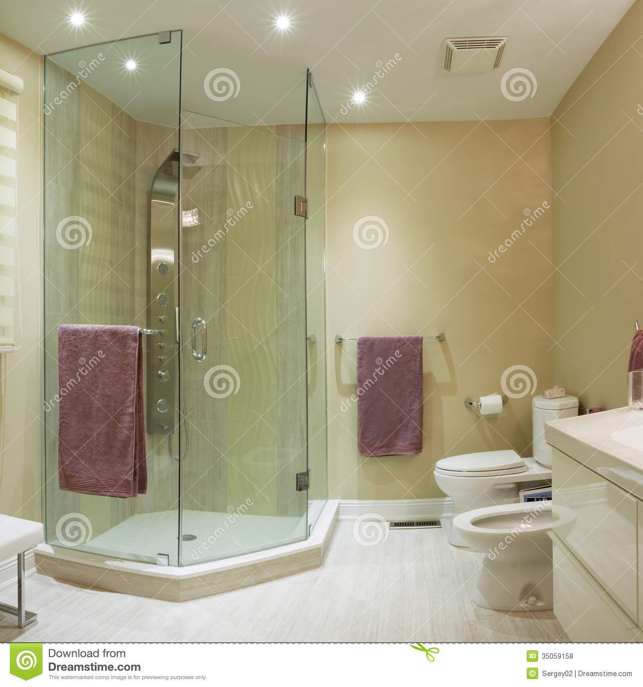 Interior design stock photo image of floor household Bathroom design for condominium