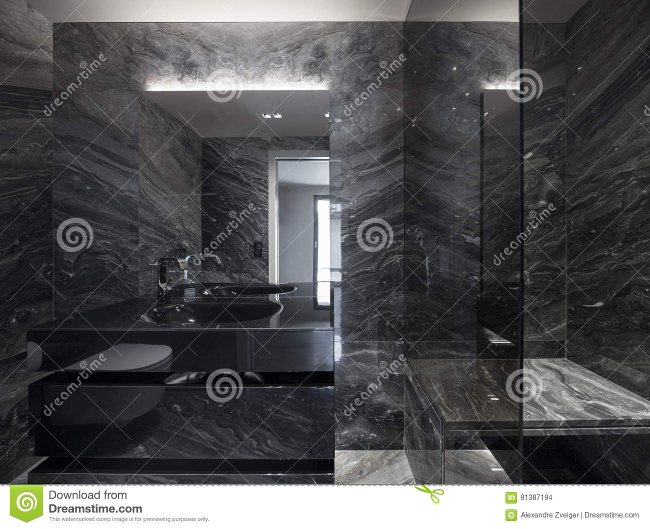 Interior Of Design Bathroom Nobody Inside Stock Photo Image Of Empty Marbkle 91387194