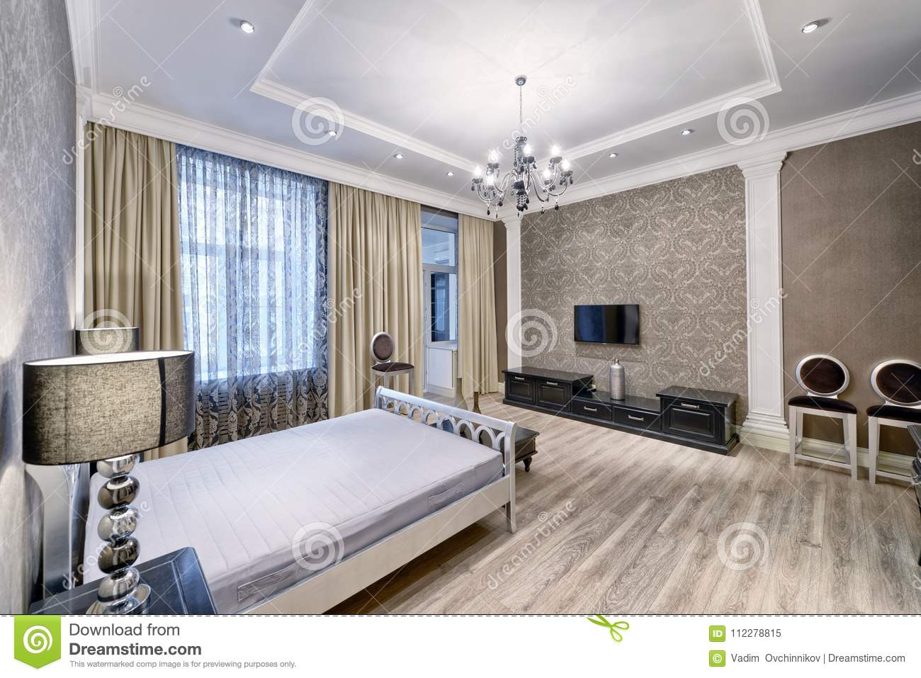 Interior Design Beautiful Bedroom In Luxury Home Stock Image Image Of Dreams Curtains 112278815