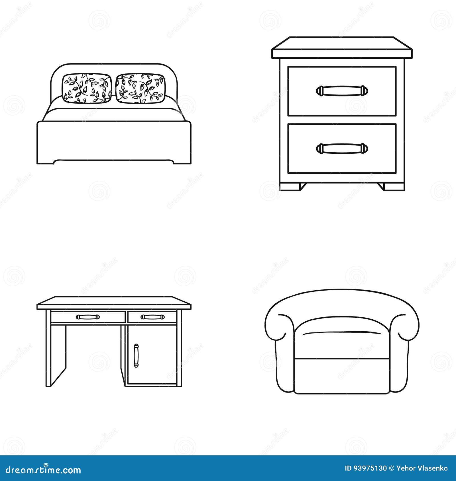 Bedroom Interior Design Set Furniture Vector ~ Interior design bed bedroom furniture and home