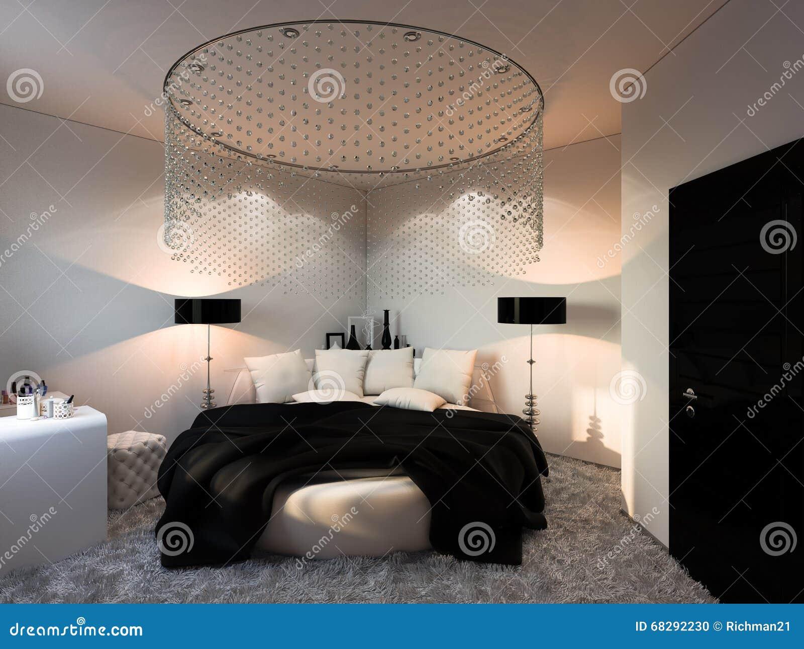 Interior Design Bedroom In Black And White Colors Stock