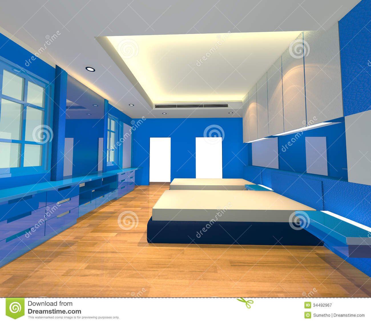 Bedroom With Blue Wall And Wooden Floor Ideal For Interior Design