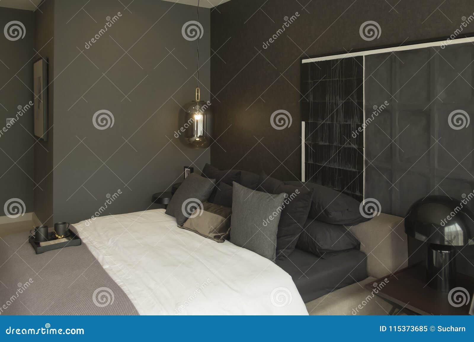 Interior Design Of Bedroom In Dark Themes Bedroom Interior Design In Showroom Stock Image Image Of Cozy Furniture 115373685
