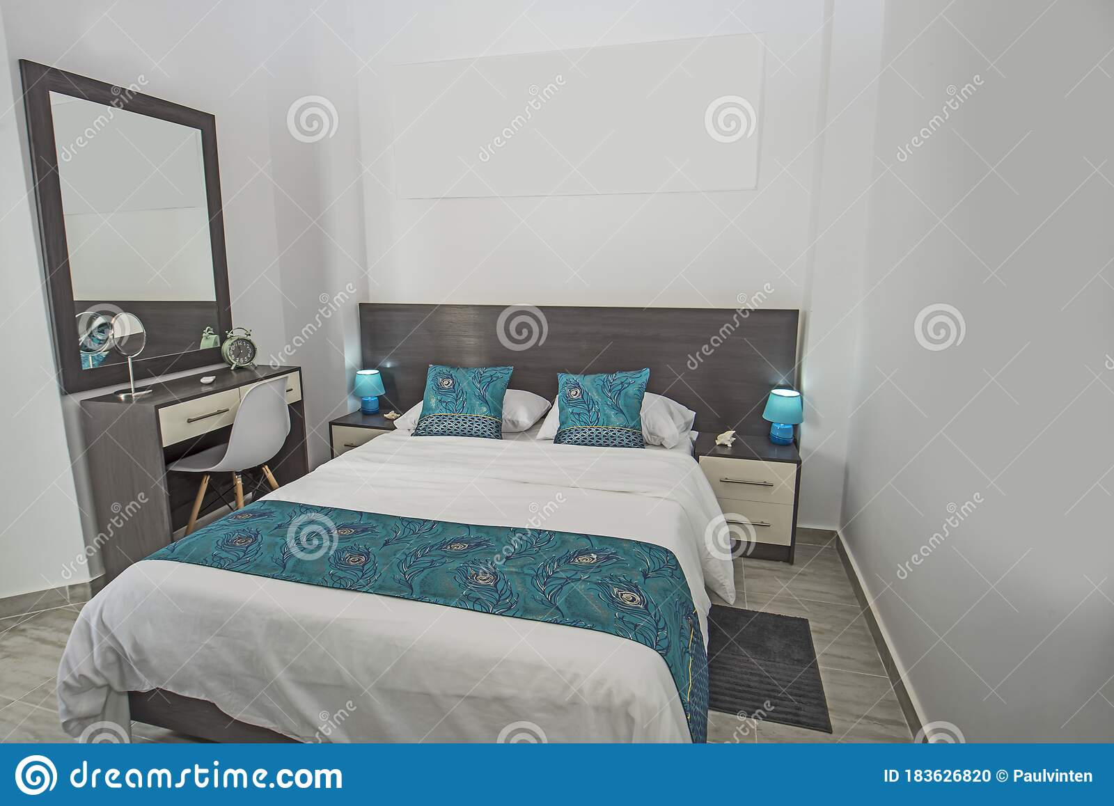 Interior Design Of Bedroom In House Stock Photo Image Of Bedside Floor 183626820