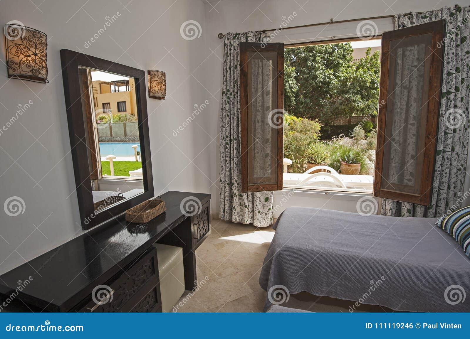 Interior Design Of Bedroom In Luxury Villa With Garden View Stock ...