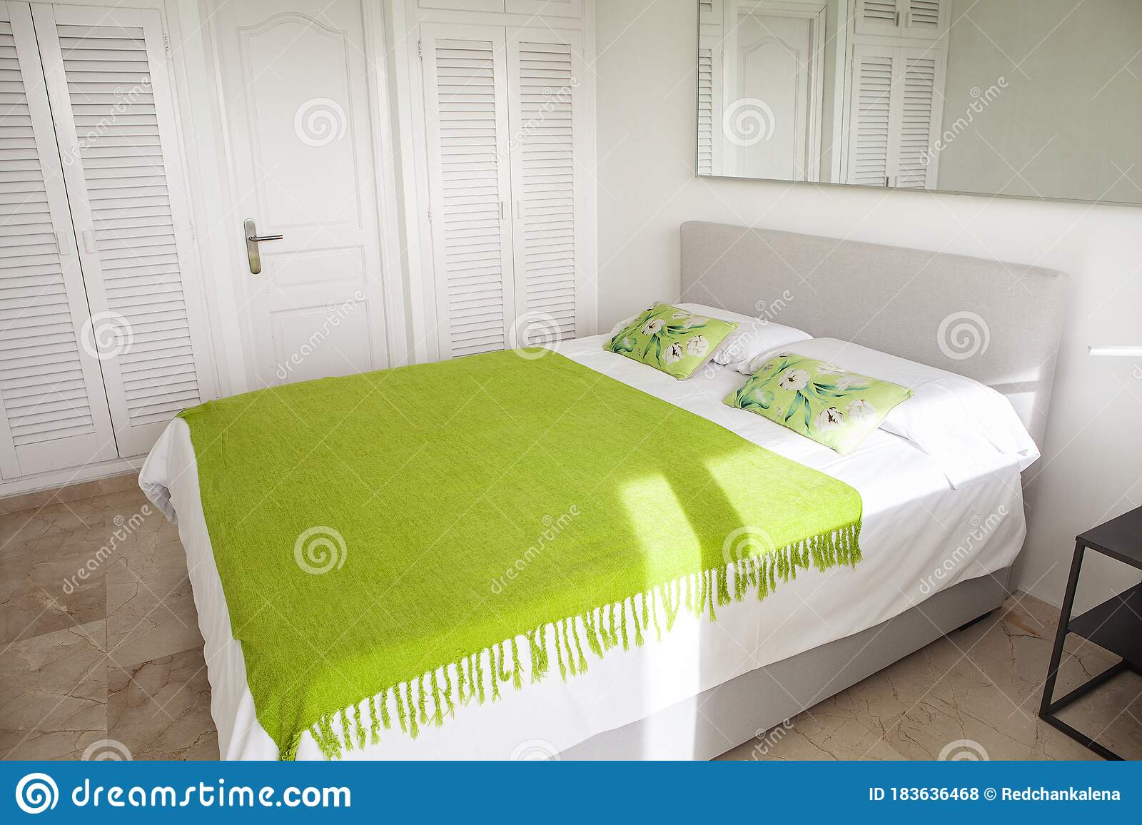 Interior Design In Bedroom Of Pool Villa With Cozy King Bed Bedroom With Green And White Colors Stock Photo Image Of Hotel Indoor 183636468