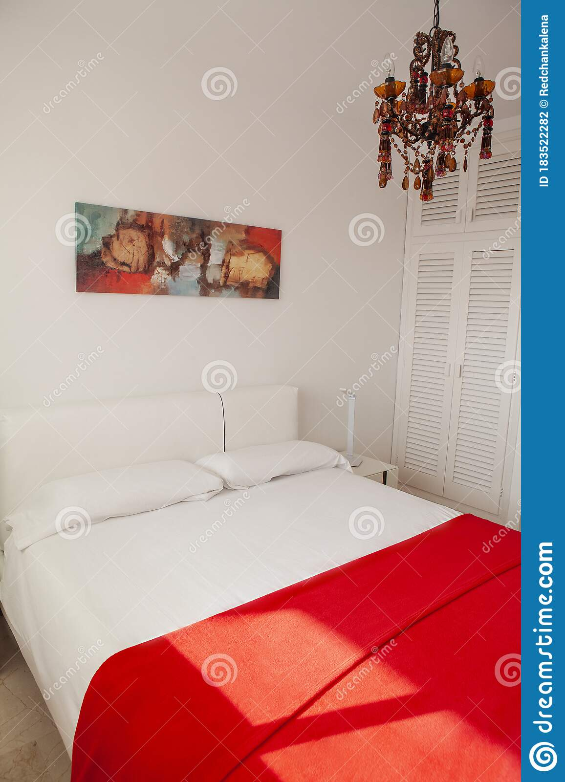 Interior Design In Bedroom Of Pool Villa With Cozy King Bed Bedroom With Red And White Colors Stock Photo Image Of Mediterranean Apartment 183522282