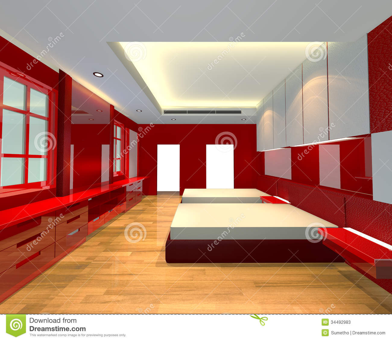 interior design bedroom red theme stock photos image 34492983. Black Bedroom Furniture Sets. Home Design Ideas