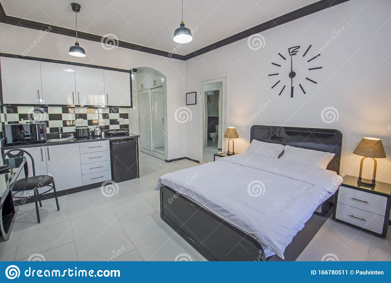 Interior Design Of Bedroom In Studio Apartment With Kitchen Stock Image Image Of Contemporary Furnishing 166780511,House Interior Designs Ideas