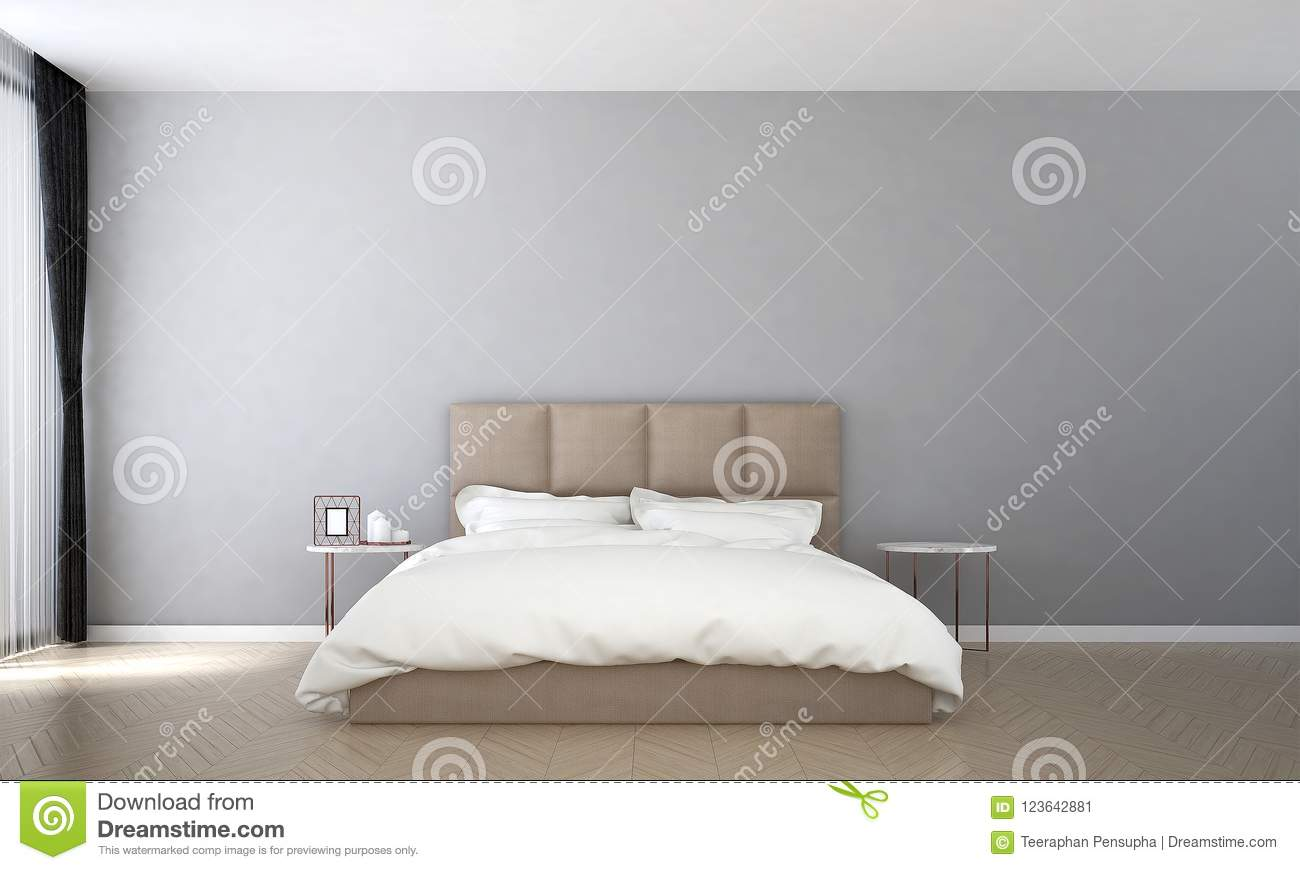 Download The Interior Design Of Minimal Bedroom And Concrete Wall Pattern  And Sea View Stock Illustration