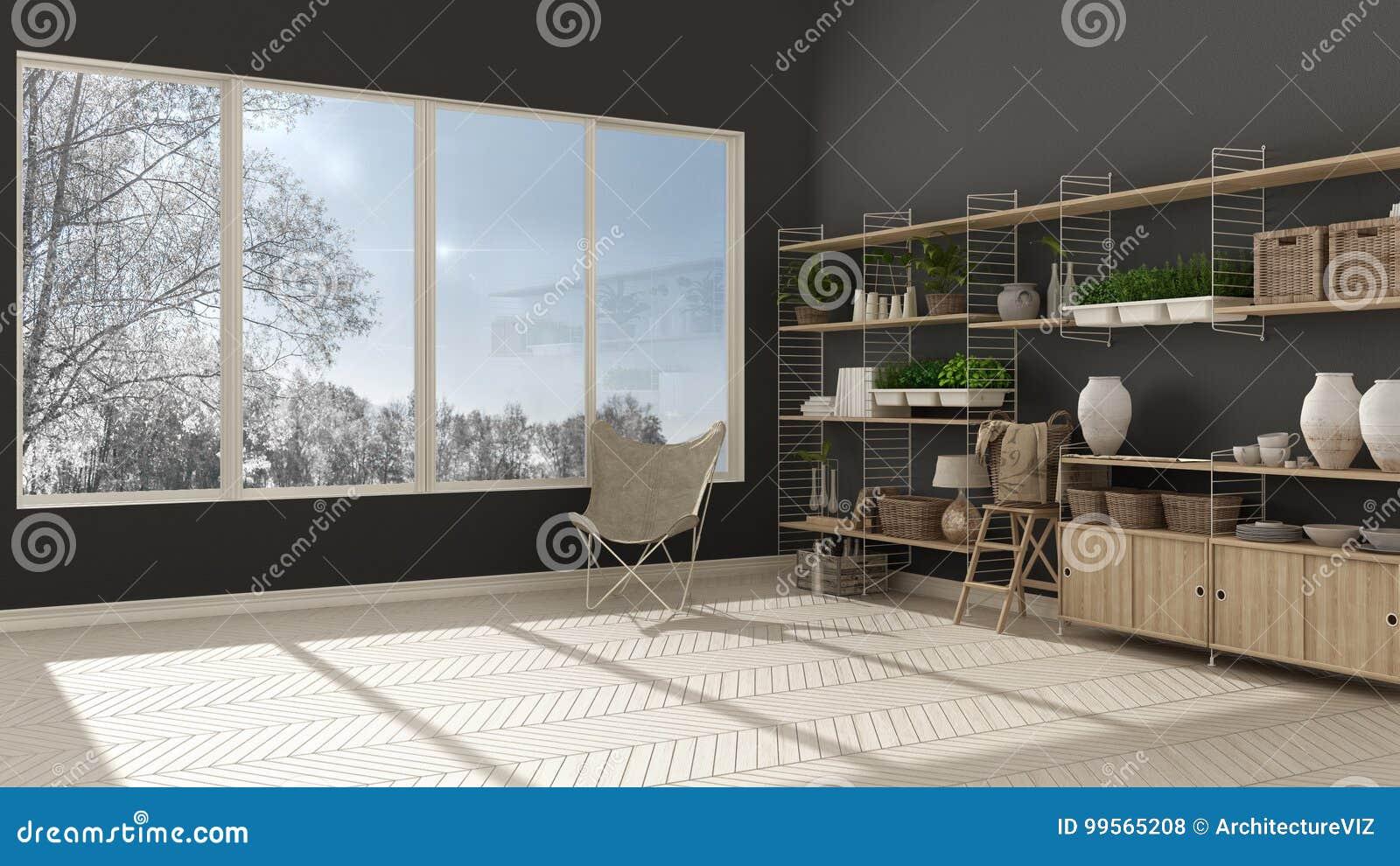 Scaffalature In Legno Per Libri.Interior Design Bianco E Grigio Di Eco Con Lo Scaffale Per Libri