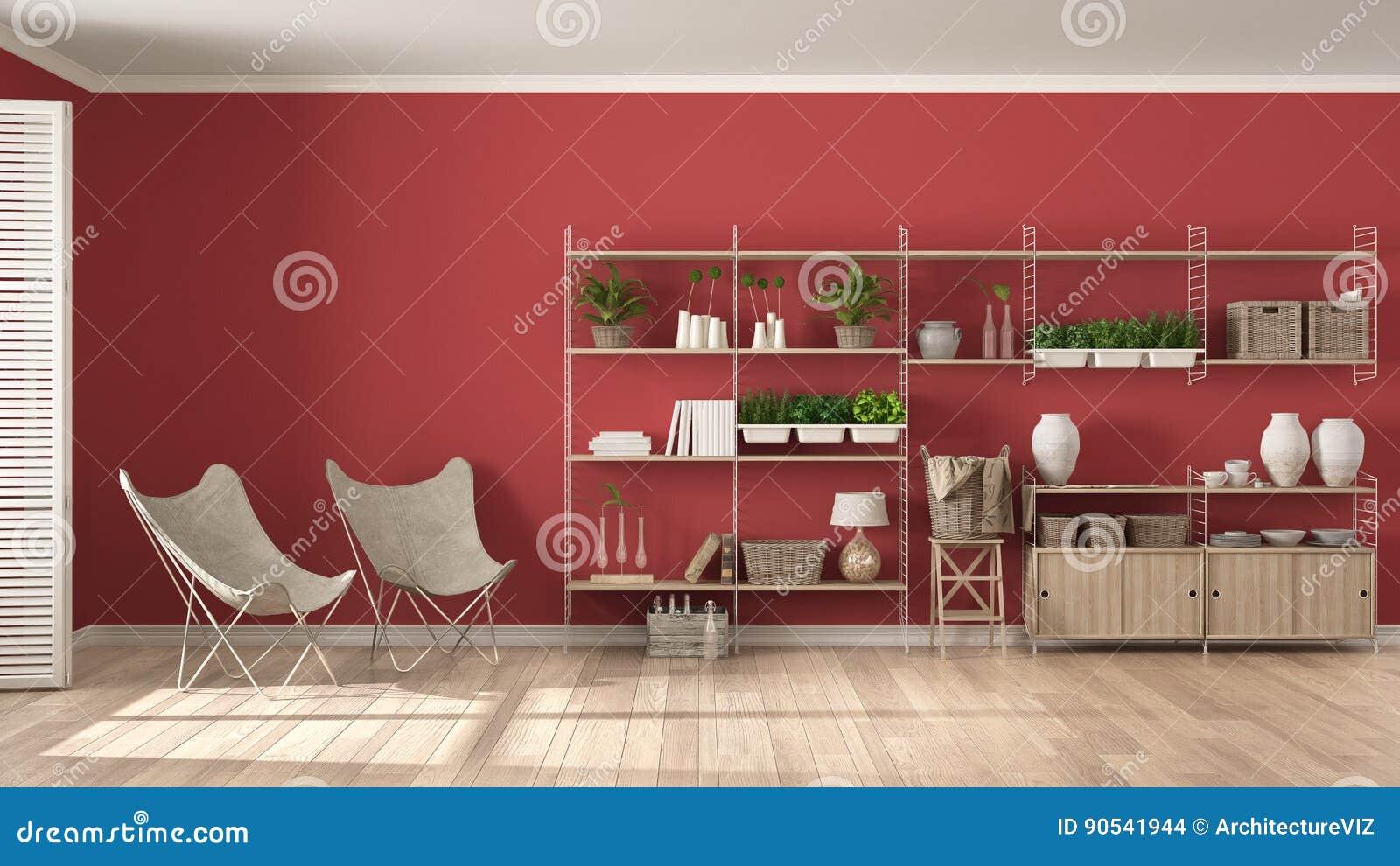 Scaffalature In Legno Per Libri.Interior Design Bianco E Rosso Di Eco Con Lo Scaffale Per Libri Di