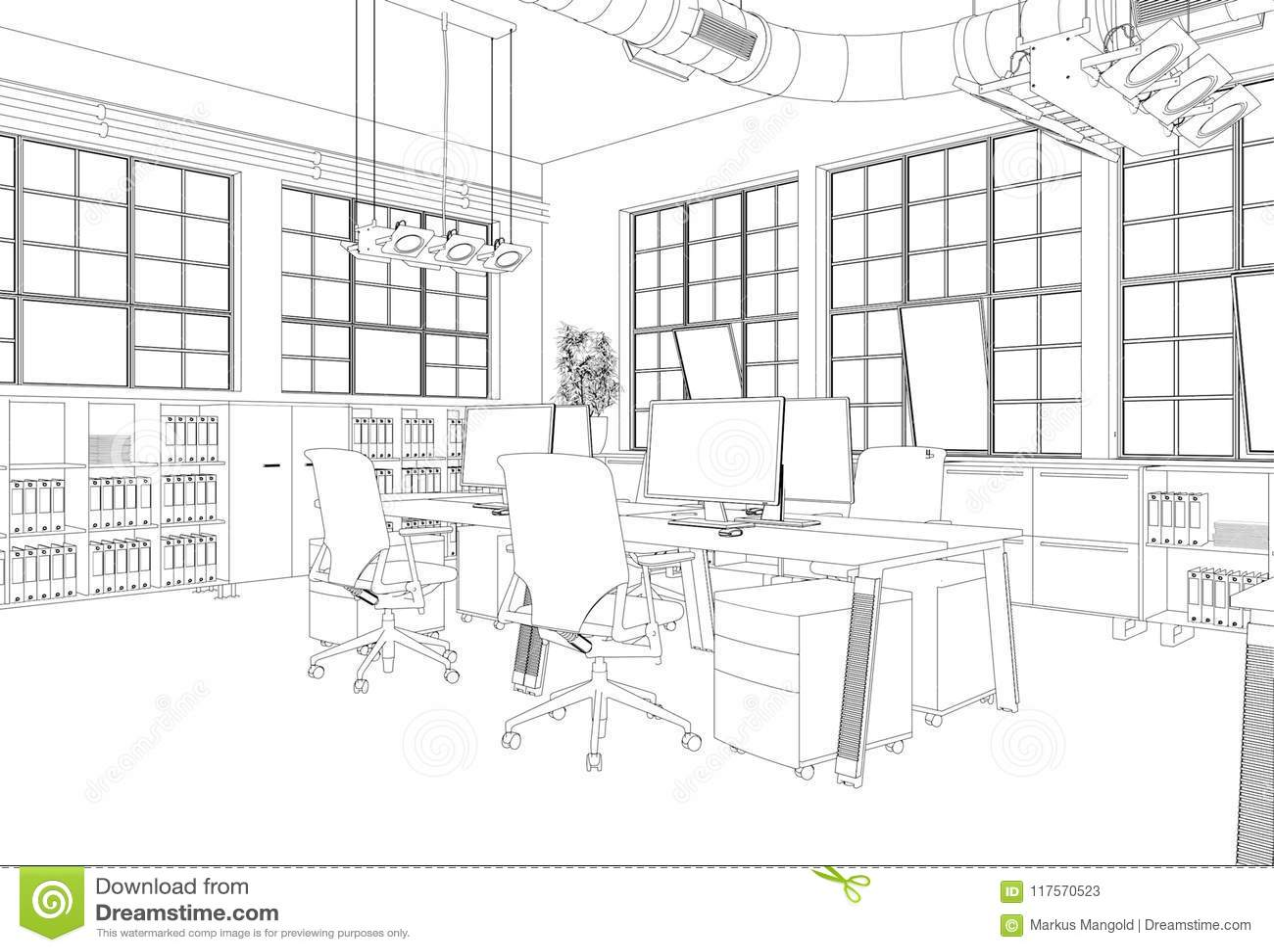 Interior Design Big Office Room With Desks Custom Drawing Stock Illustration Illustration Of Composition Construction 117570523