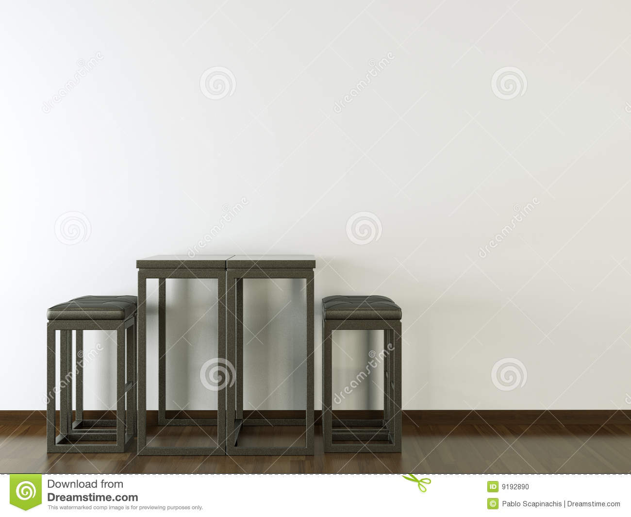 Interior design black furniture on white wall stock photo for Dark walls white furniture
