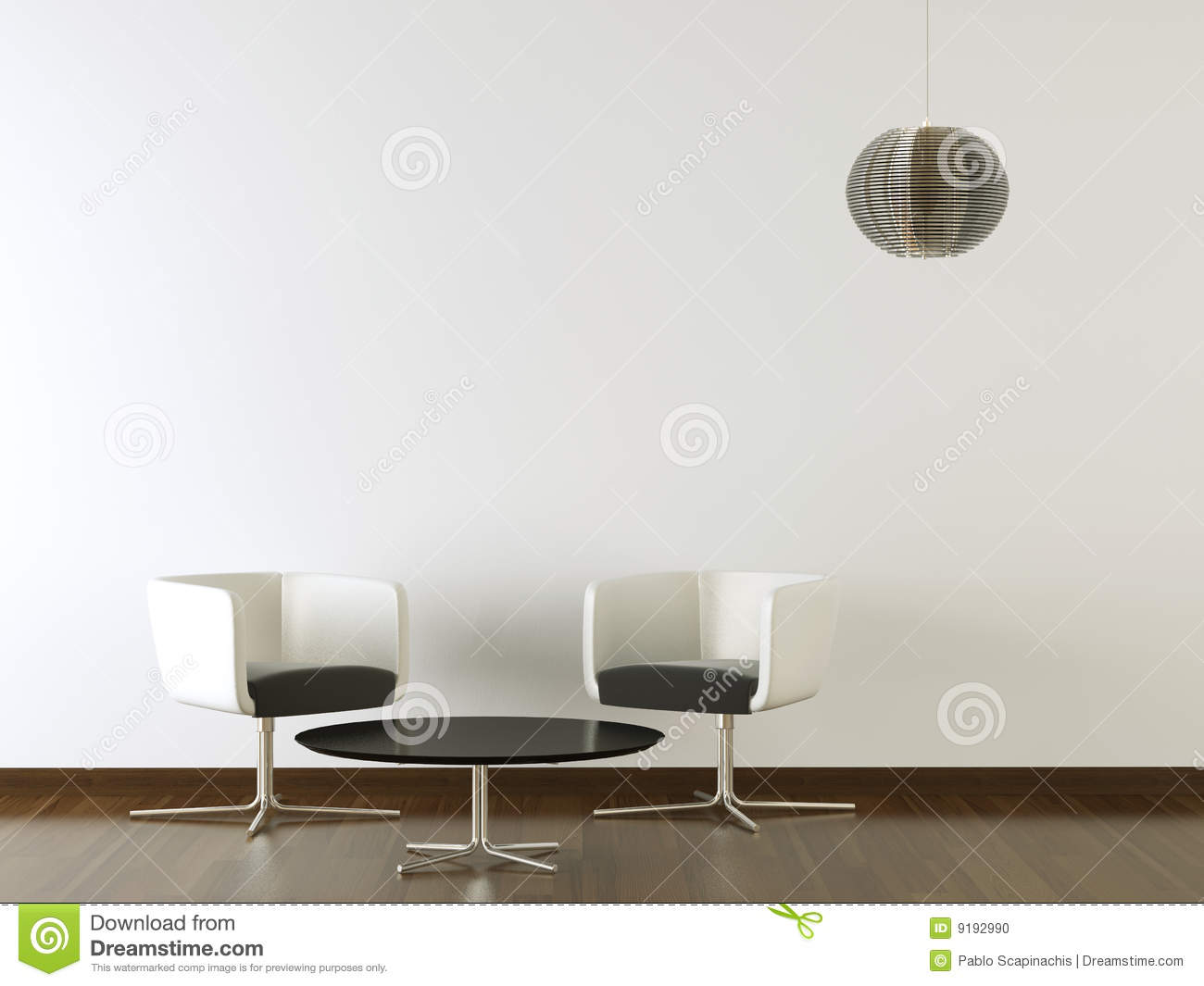 Interior Design Black Furniture On White Wall Stock Photo