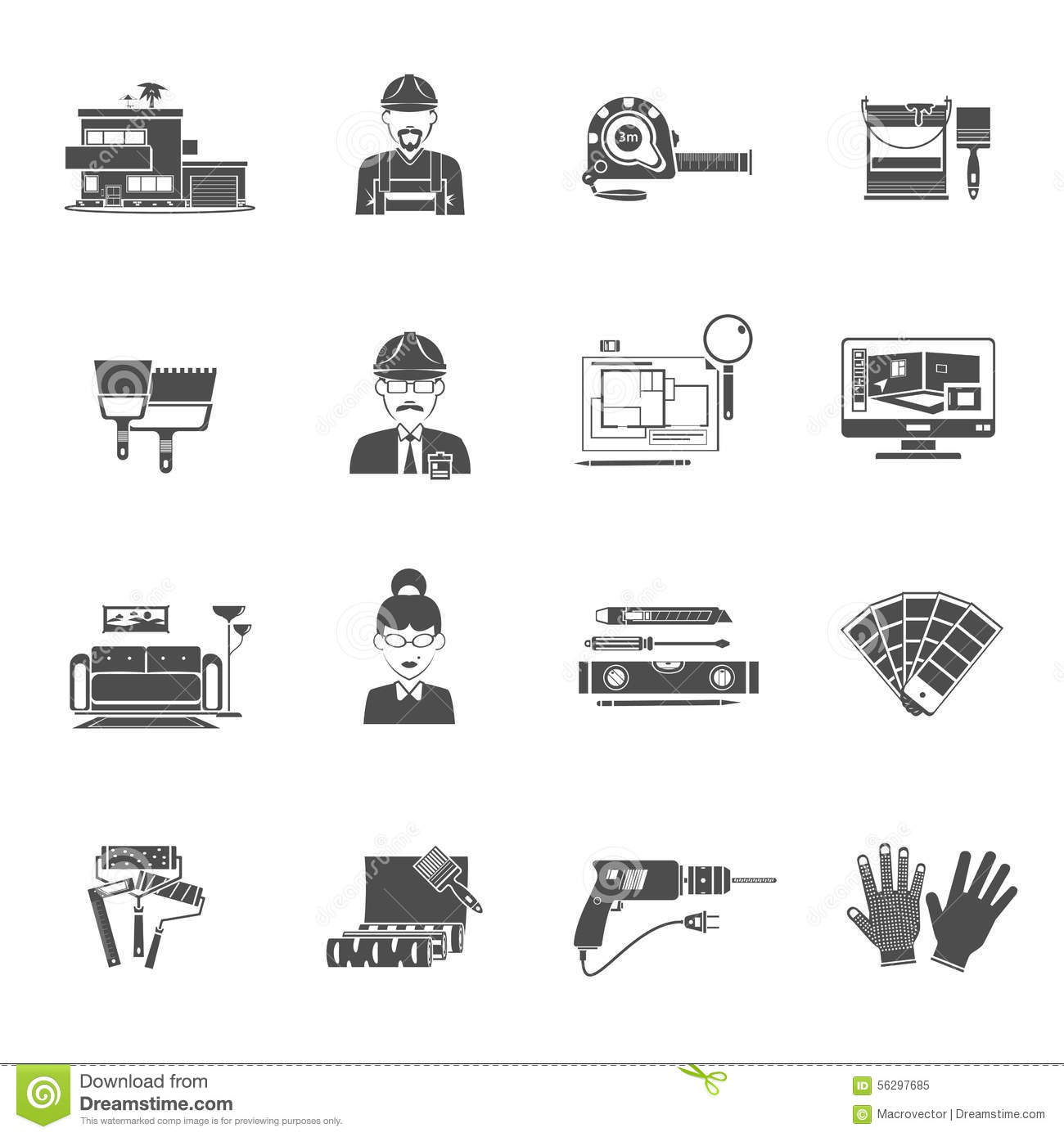Interior design black icons set stock vector image 56297685 for Interior design images vector