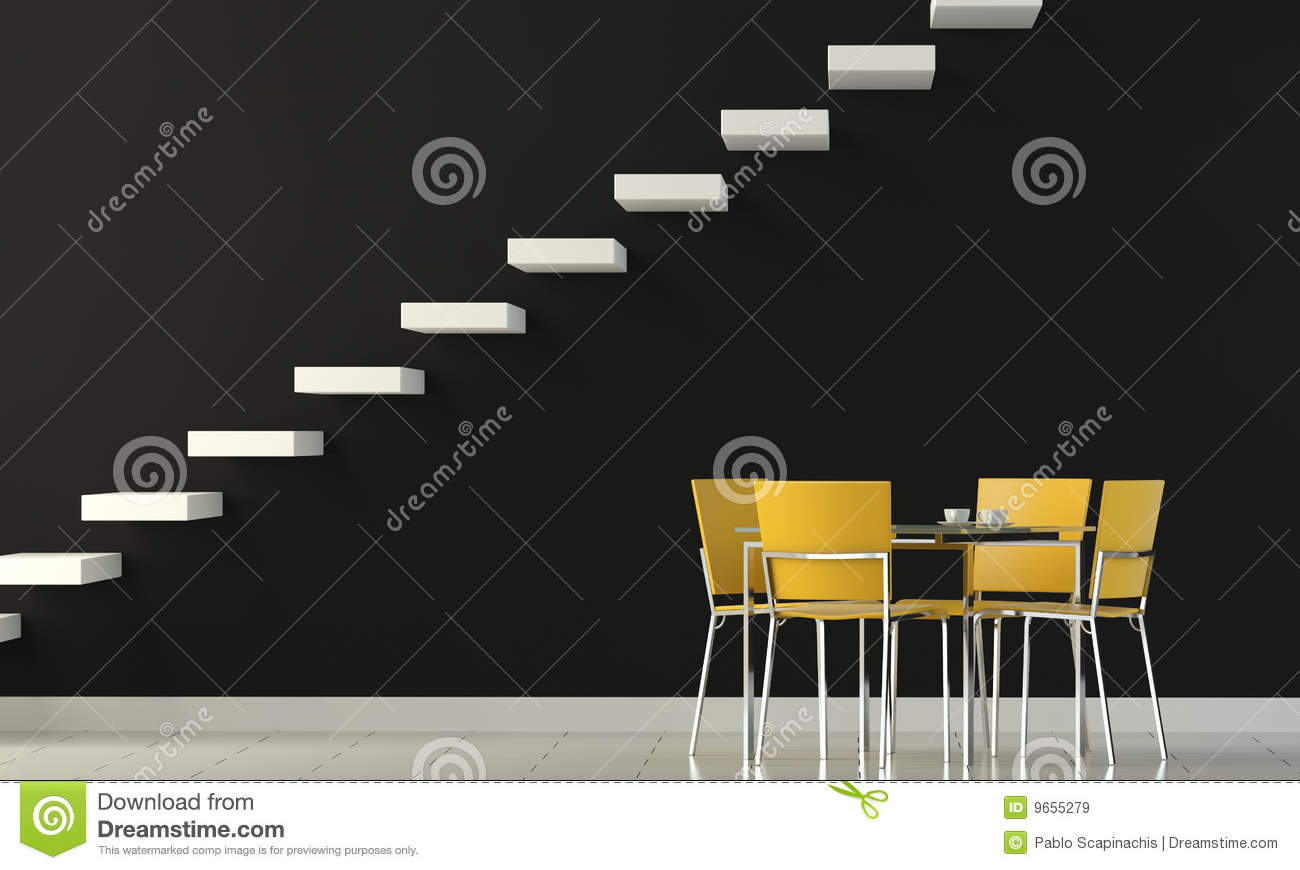 Interior Design Black interior design black furniture on white wall stock photo - image