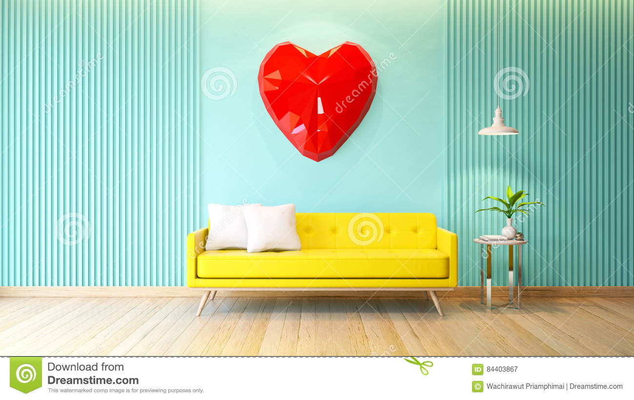 Attirant Blue Room Interior, Yellow Sofa With White Lamp On Wood Flooring And Red  Heart Polygoanal
