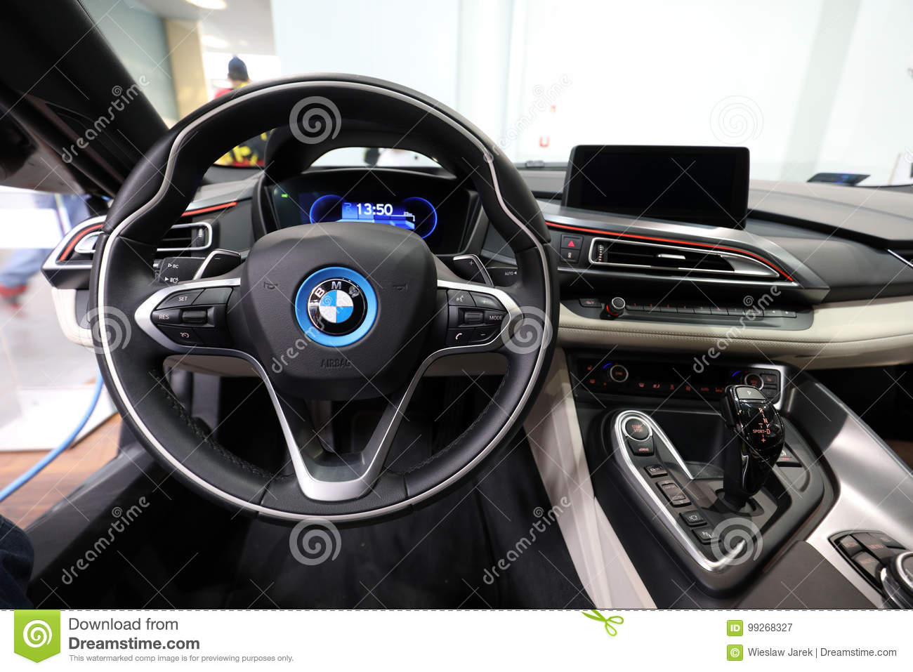 Interior Design Of Bmw I8 Displayed At Moto Show In Cracow Poland