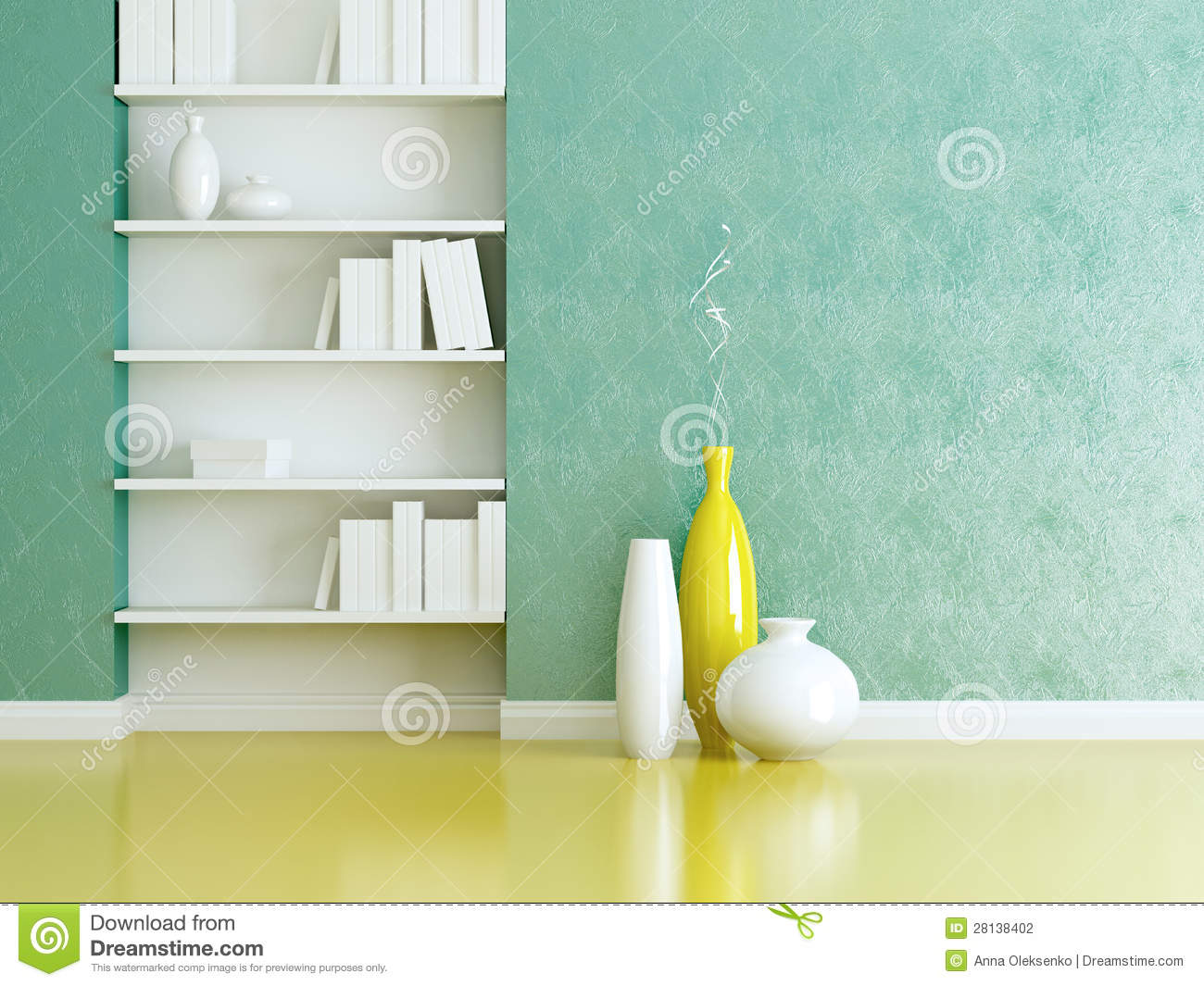 Interior Design Bookshelves And Vases Indoor Stock Photo Image