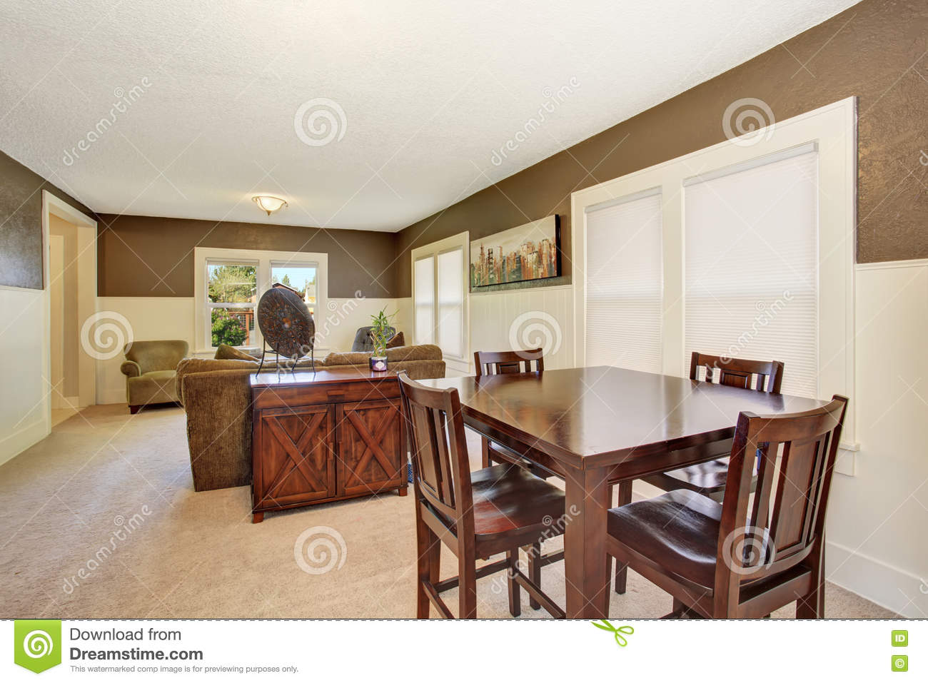 Interior Design Brown Wooden Table Set In The Dining Room With Beige Carpet Stock Image Image Of Colorful Estate 74363841