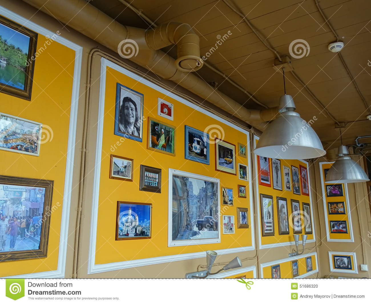 Interior design cafe in cuban style editorial image image 51686320 - Yellow interior house design photos ...