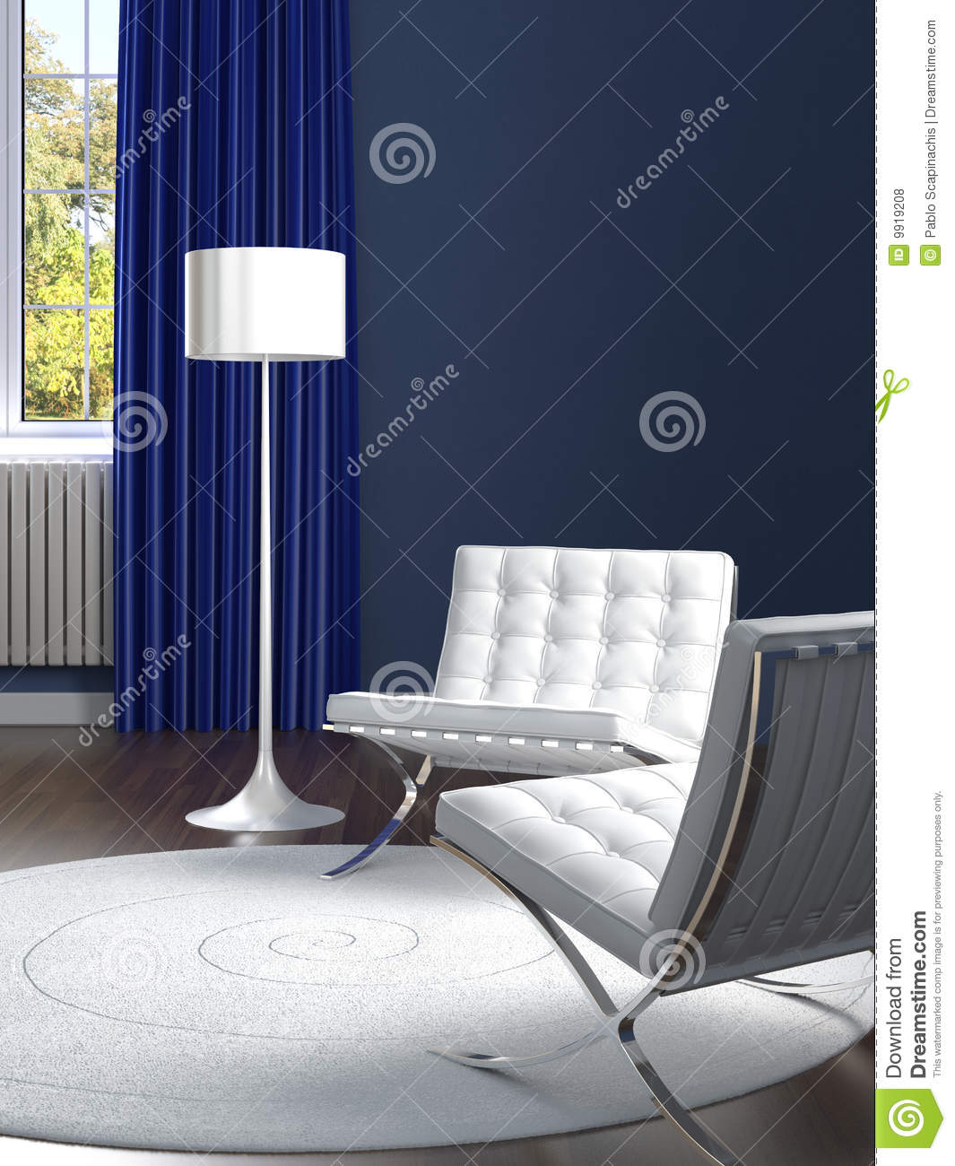Interior Design Classic Blue And White Room Royalty Free