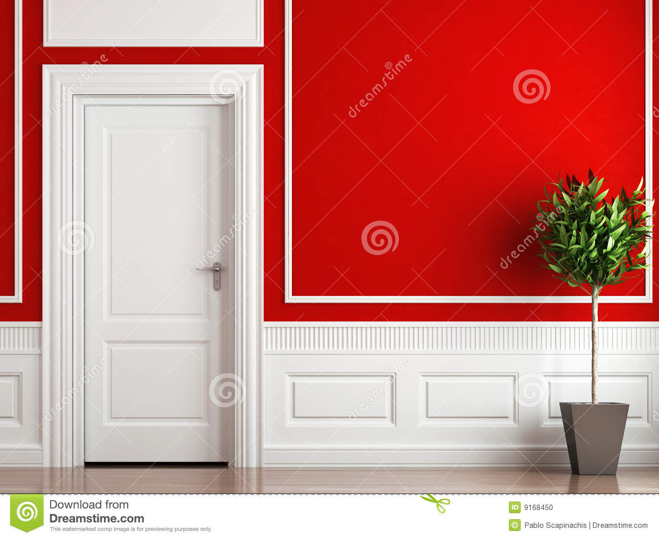 Interior design classic red and white stock photo image - Red white interior design ...
