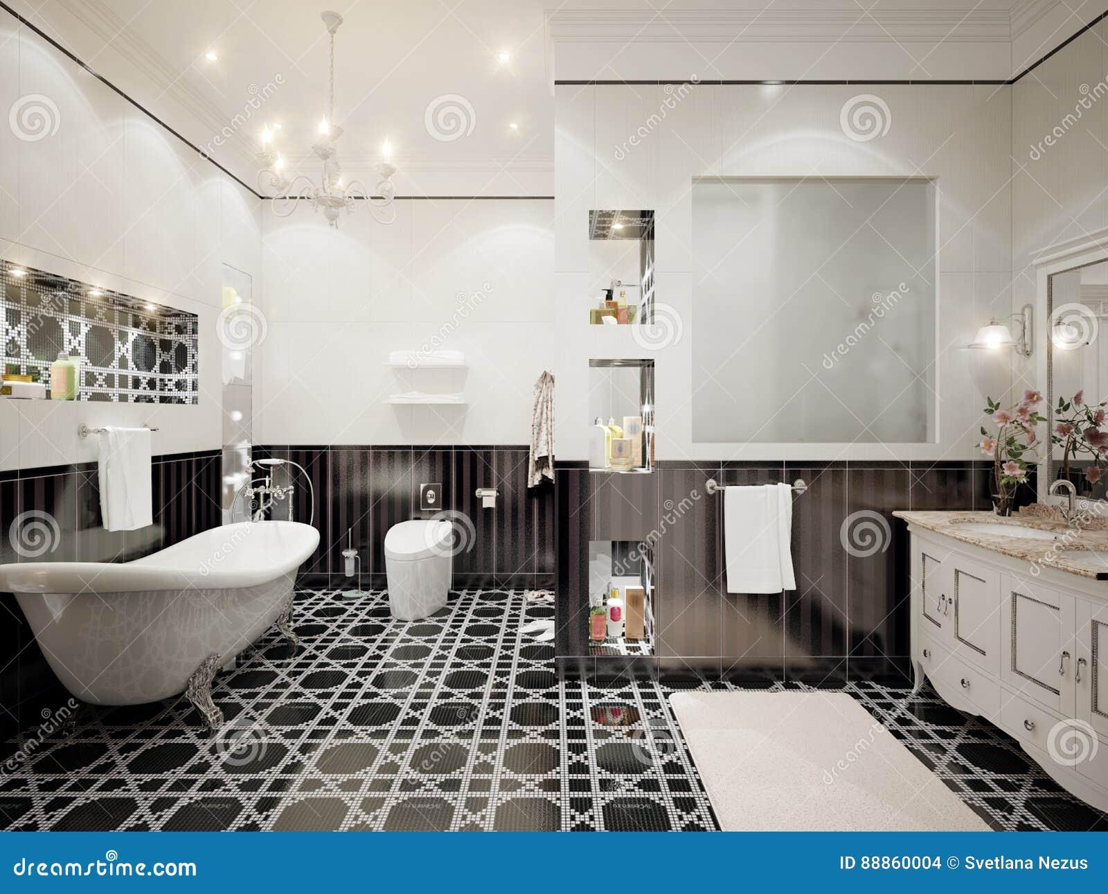 Interior design classico del bagno con le mattonelle bianche e