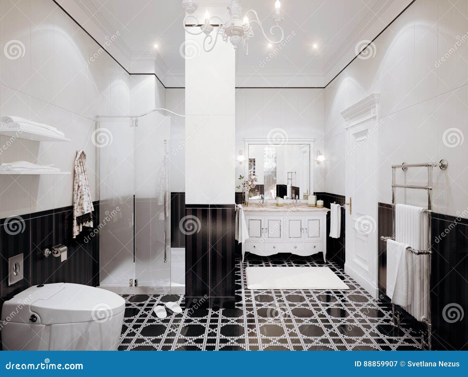 Bagni Classici Con Mosaico.Interior Design Classico Del Bagno Con Le Mattonelle Bianche E Nere