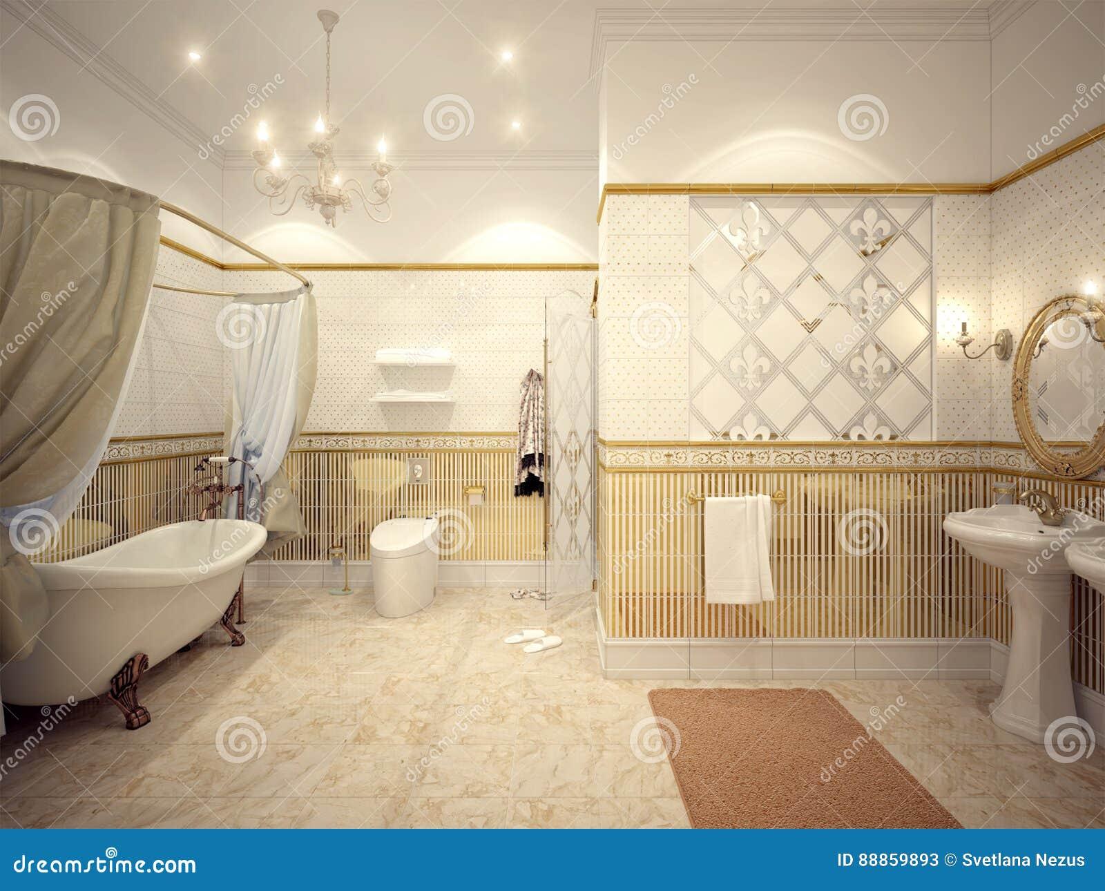 Interior Design Classico Del Bagno Con Oro E Le Mattonelle Beige