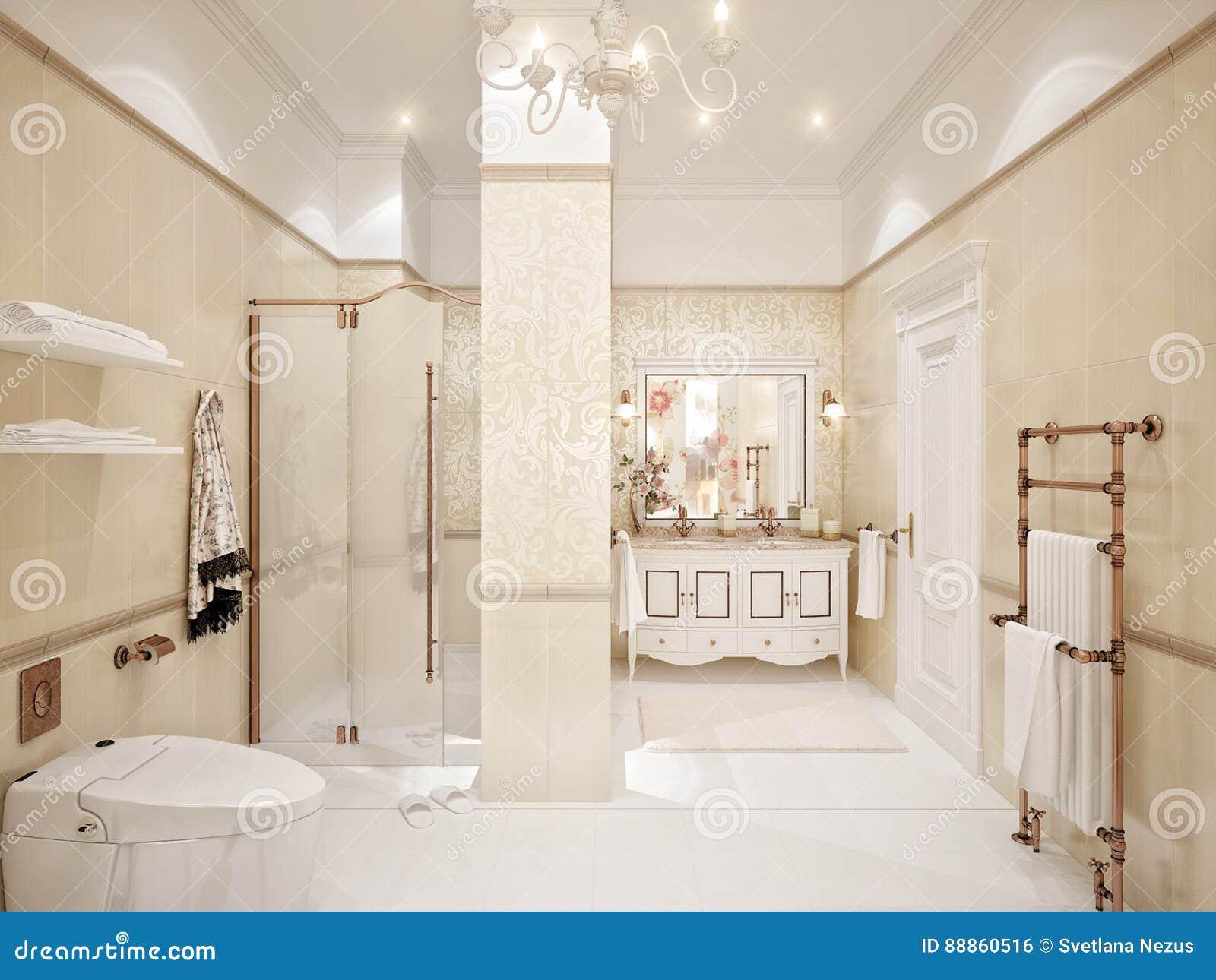Interior design classico del bagno con oro e le mattonelle for Mattonelle bagno
