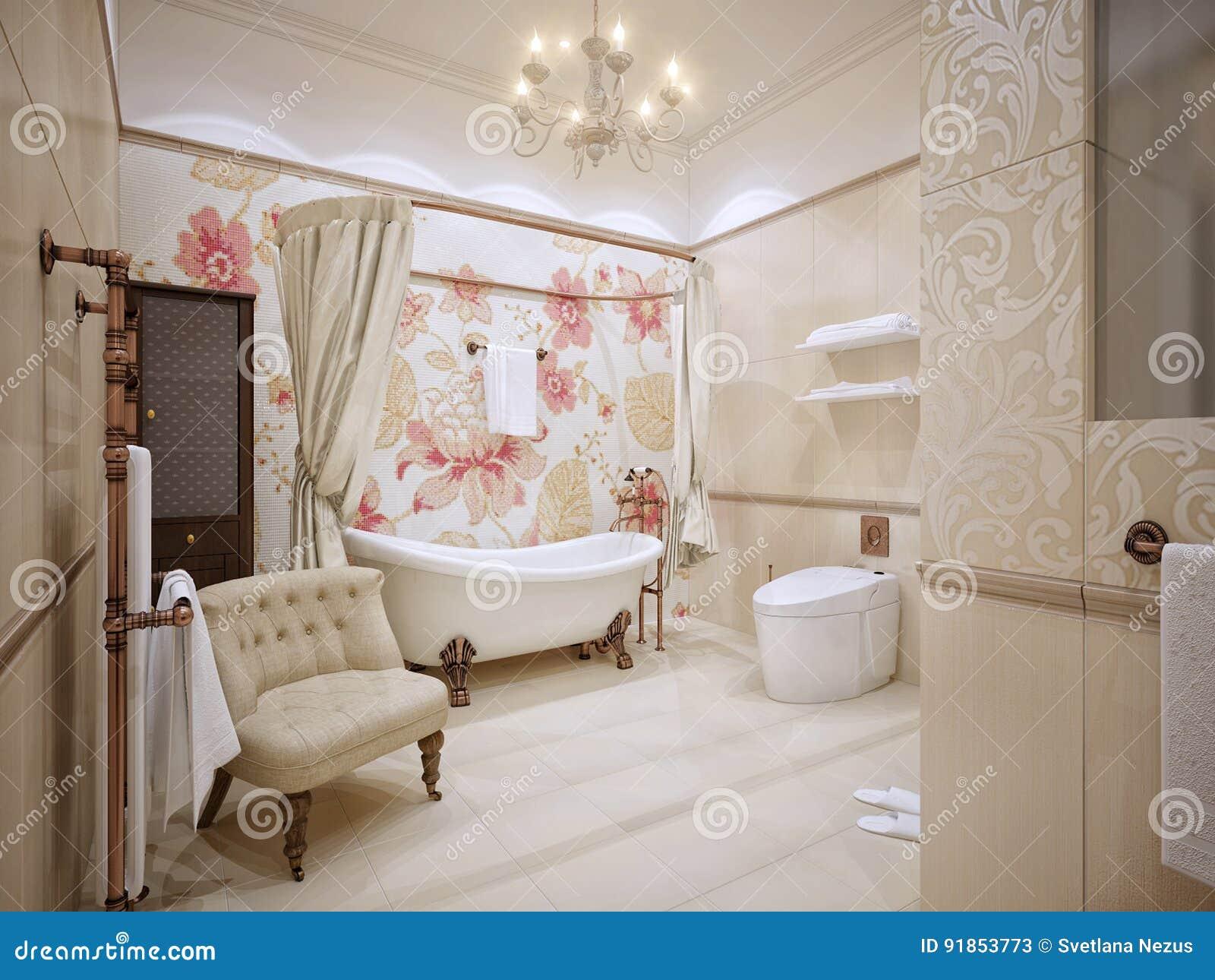 Bagno Con Mosaico Beige : Interior design classico del bagno con oro e mattonelle beige e m