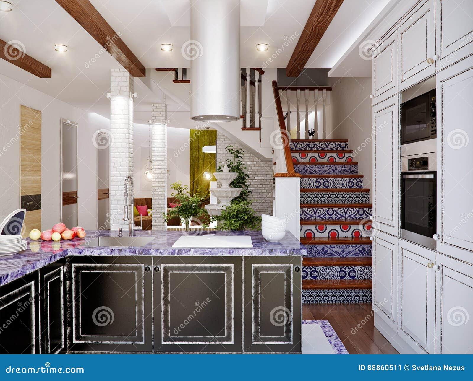 Interior Design Classico Di Sala Da Pranzo E Della Cucina ...