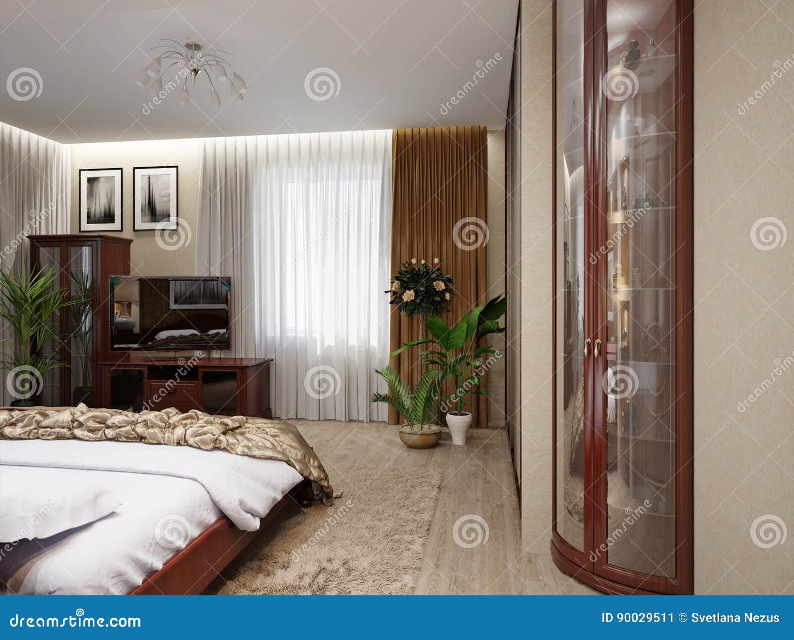 Interior design classico moderno della camera da letto for Interior design moderno