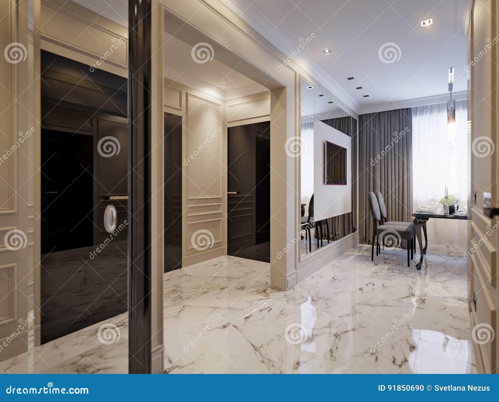 Interior Design Classico Moderno Della Cucina Illustrazione di Stock ...
