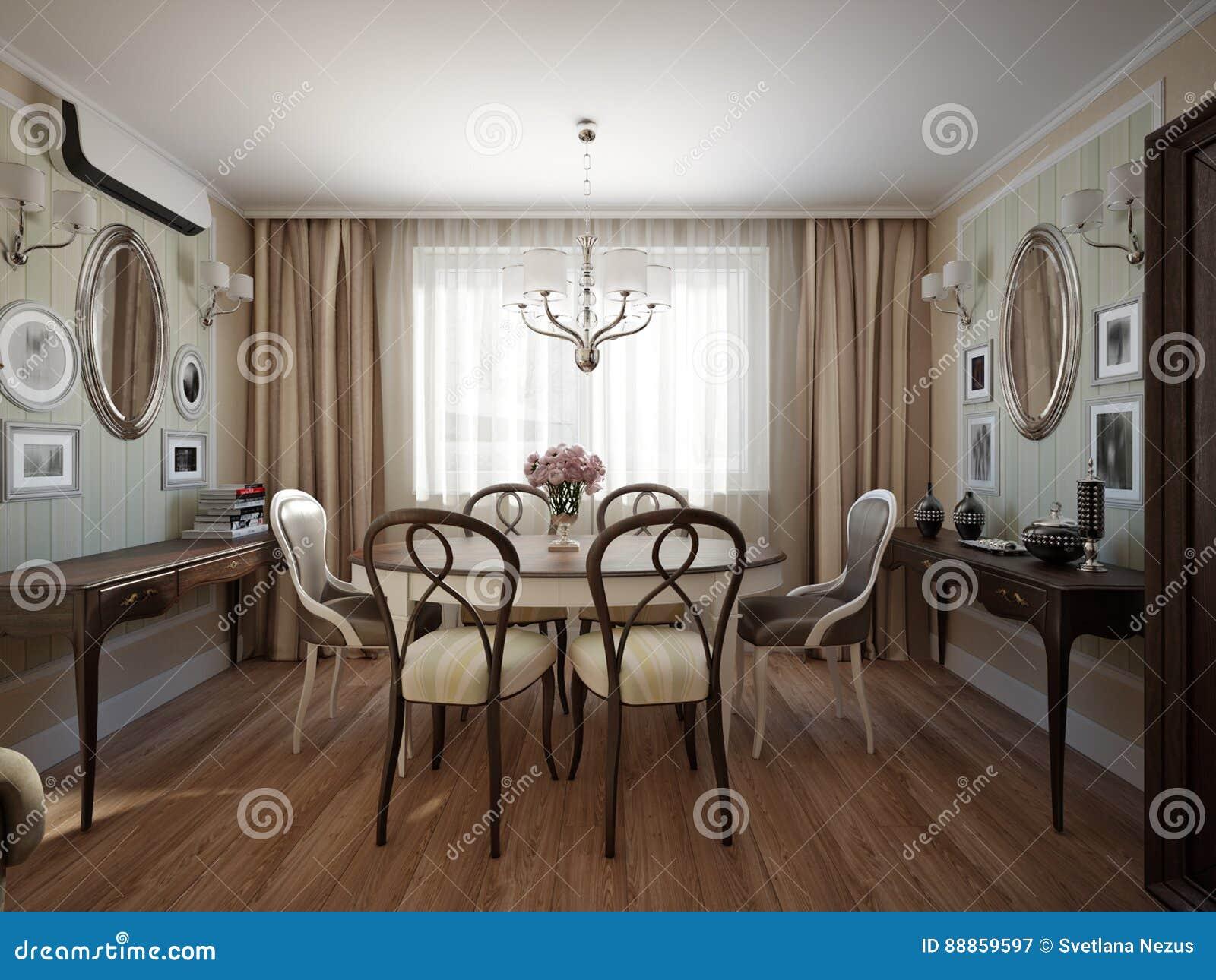 Interior Design Classico Moderno Della Sala Da Pranzo E Del Salone Illustrazione Di Stock Illustrazione Di Illuminazione Idea 88859597