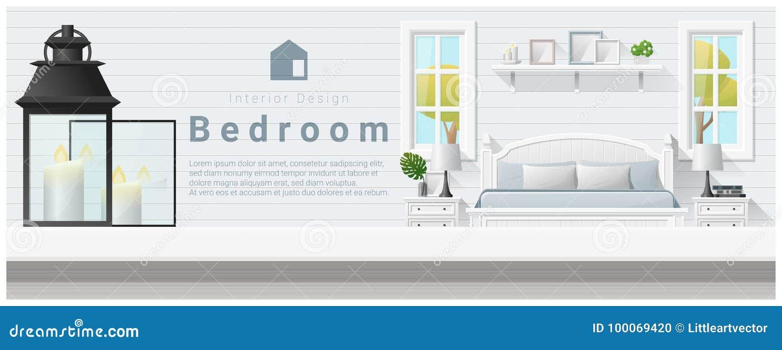 Interior design con il piano d appoggio ed il fondo moderno della camera da letto