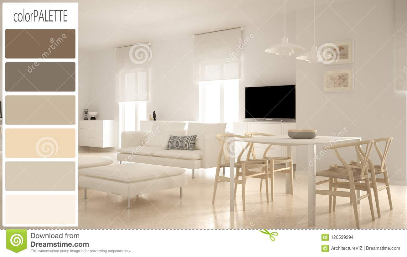 Interior design concept architect designer modern scandinavian living room draft with color palette