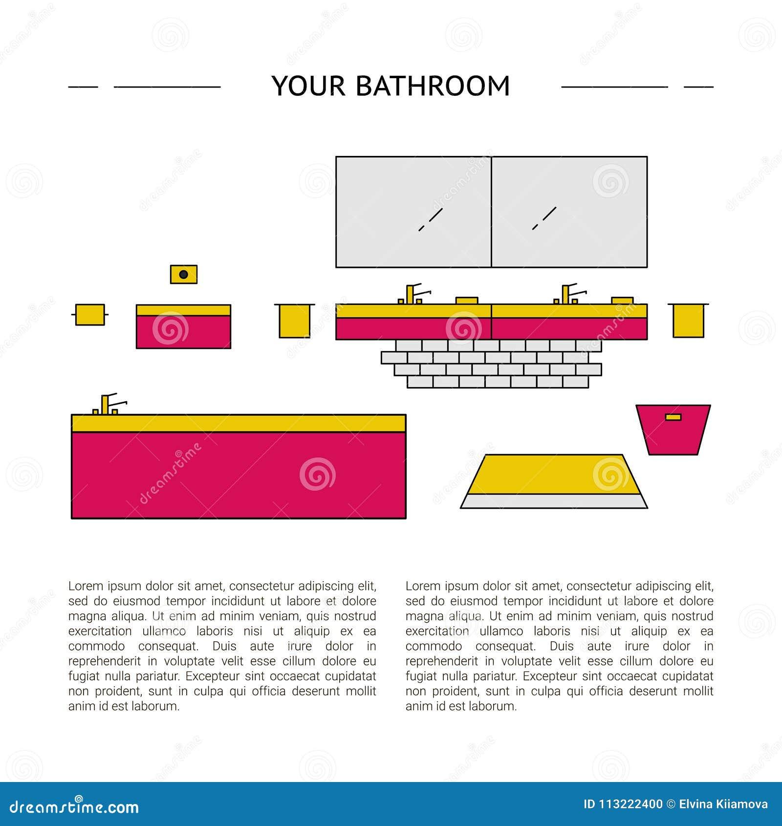 Interior Design Concept. Your Bathroom Template. Stock Illustration ...
