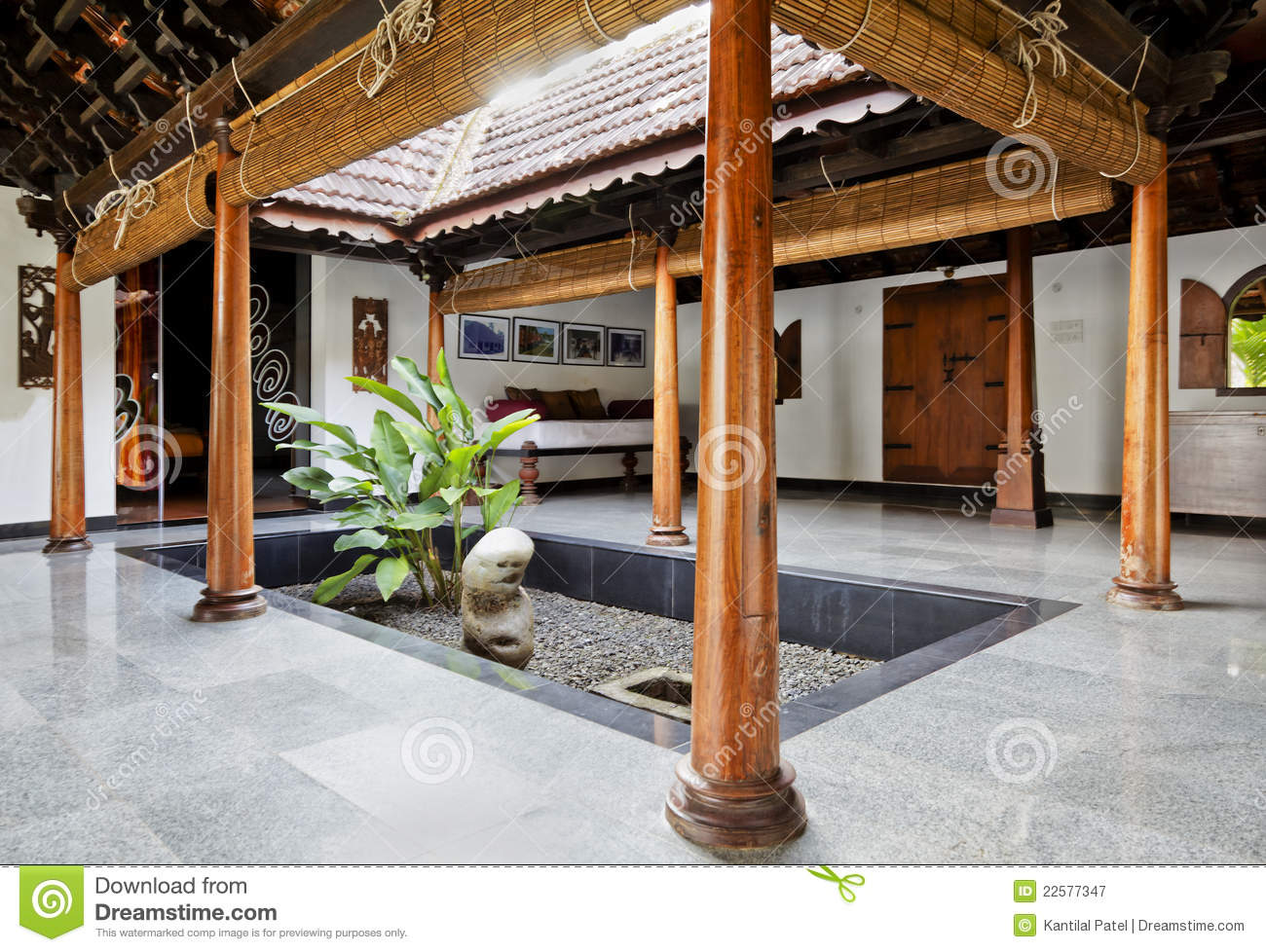 Interior design of courtyard in kerala bungalow stock for Inner courtyard home designs