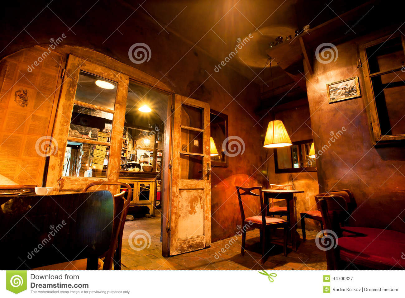 Interior Design Of Cozy Old Cafe With Wooden Furniture