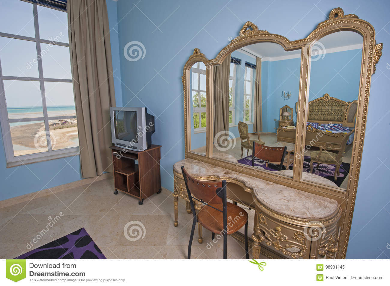 Interior Design Of Bedroom In Villa With Dressing Table Stock Image ...