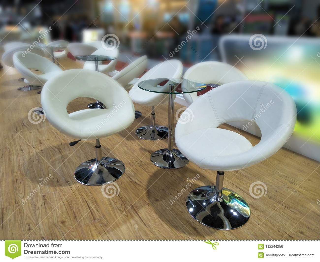 Interior With Design And Decorative Luxury And Modern Glass Tables And White Chairs In Restaurant Stock Photo Image Of Dinner Furniture 112244256