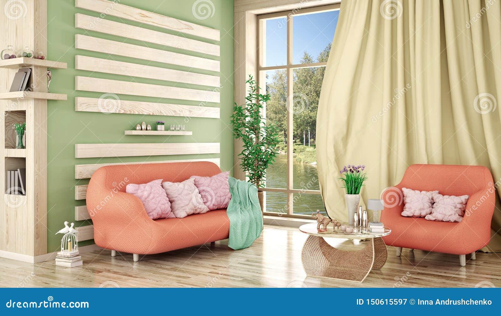 Interior design del salone moderno con il sofà e la poltrona, piante, rappresentazione 3d