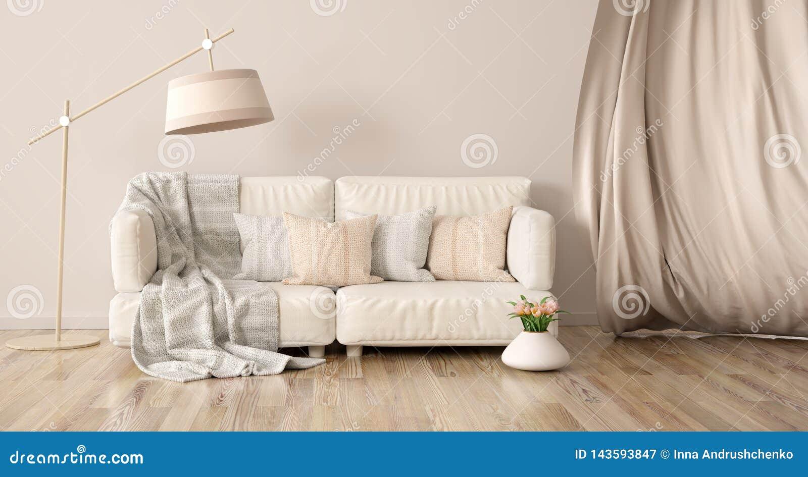 Interior design del salone moderno con il sofà e la tenda, rappresentazione 3d