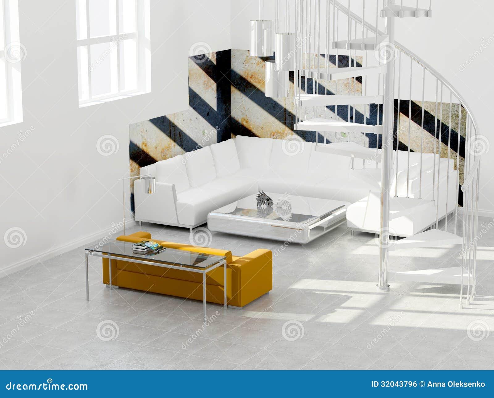 decoracao de interiores sotaos:interior design del sottotetto moderno, stanza bianca con le scale