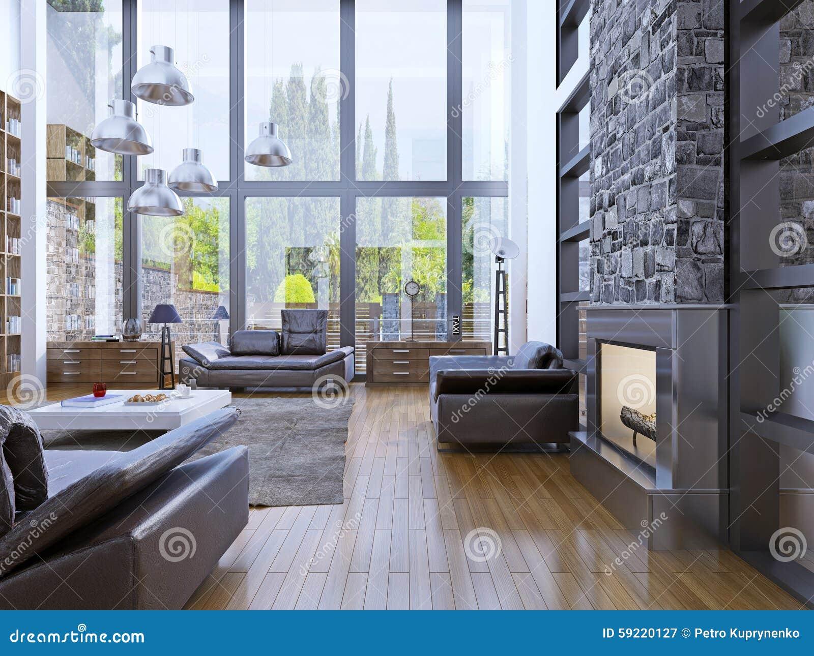 Interior design dell appartamento del sottotetto con l interno panoramico della finestra