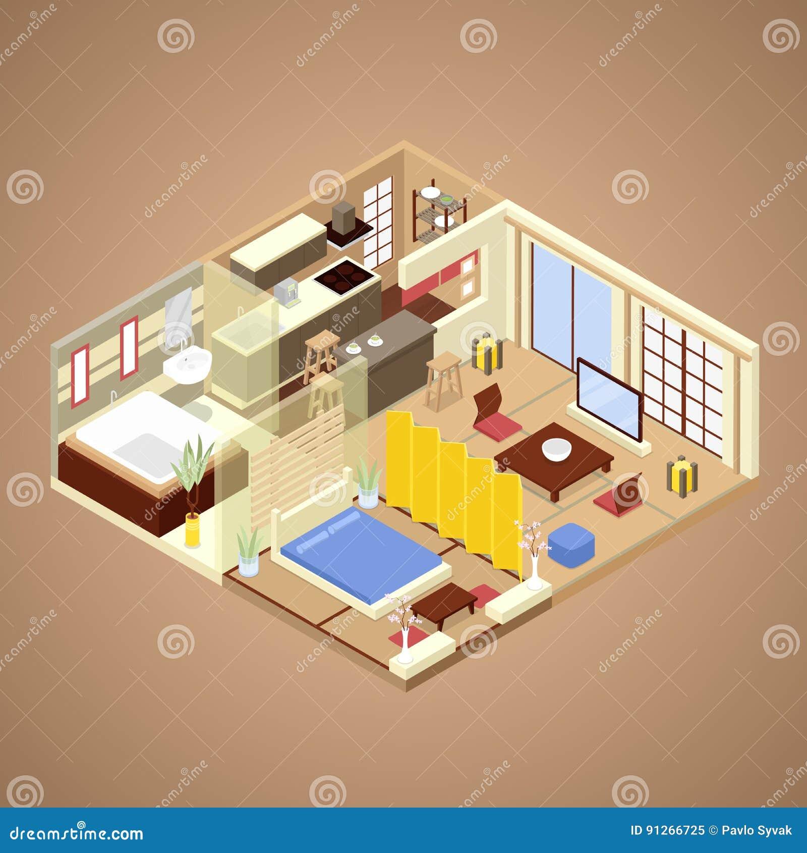 Interior Design Dell\'appartamento Di Stile Giapponese Con La Cucina ...