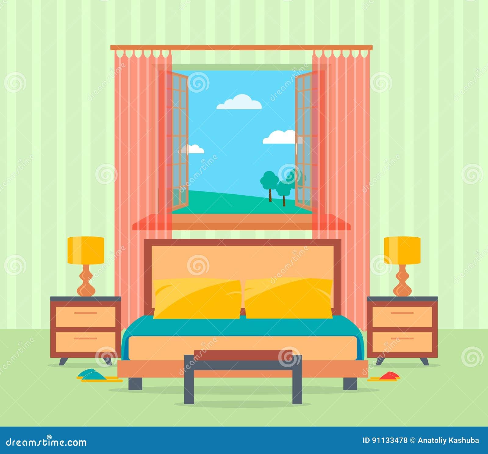 Interior design della camera da letto nello stile piano compreso il letto, la tavola, le lampade, i comodini e la finestra